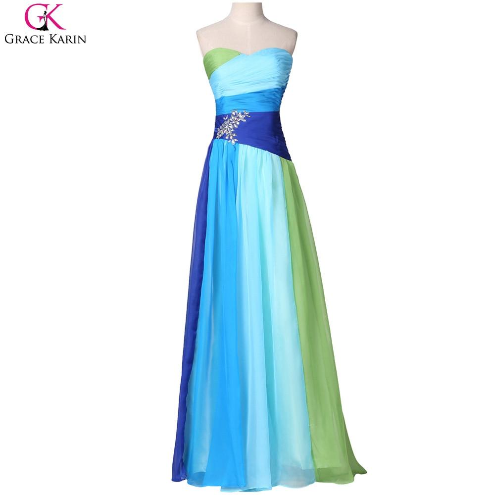 Blue Ombre Bridesmaid Dresses Grace Karin Strapless Chiffon Beaded ...