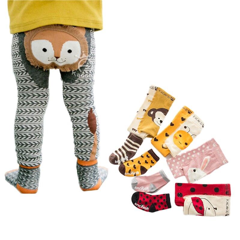 Baby Boy Girl Cartoon PP Pants With Sox Infant Toddler Animal Cotton Elastic Panti Hose Skinny Pants Kids Tights Spring