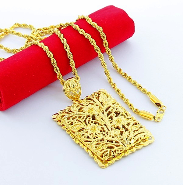 grade popcorn jewelry high classic necklace men rectangular item plated pendant carved long gold