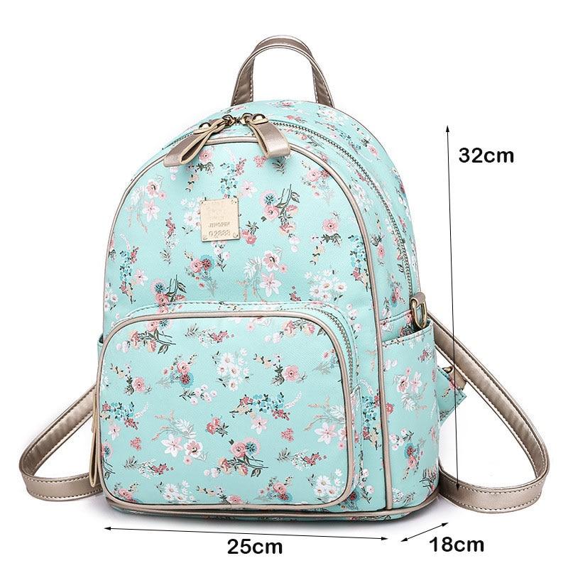 42977f78a973 ... Fashion Floral Backpack Women Girl PU leather Shoulder Bagpack Mini Sky  Blue Pink Black Print School ...