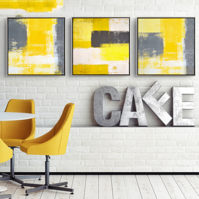 Modern Home Decor Yellow And Grey Abstract Painting Decorative Canvas Paintings For Living Room Sofa Backdrop