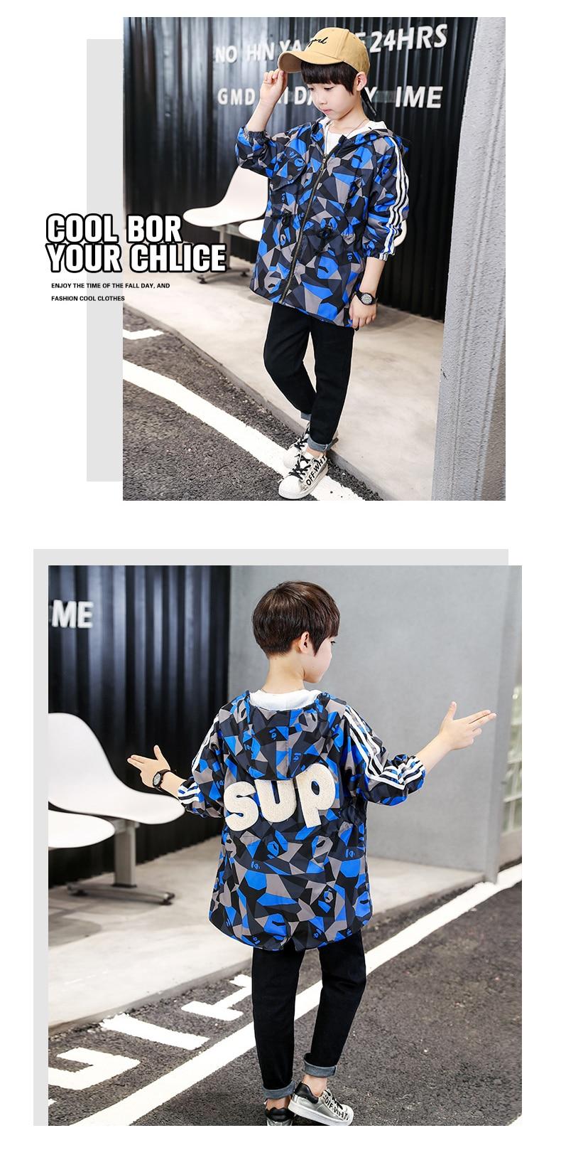 bcc5332c554a Trench Coat Boy Autumn 2018 Print Windbreaker Jackets Long Sleeve ...