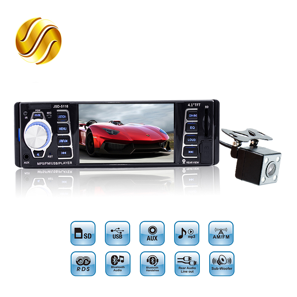 Viecar Car MP5 Player 4.1 HD Screen Display 1 Din Auto Audio FM Video AUX Port USB SD With or Without Rear View Camera auto car usb sd aux adapter audio interface mp3 converter for volkswagen polo 2005 2011 fits select oem radios