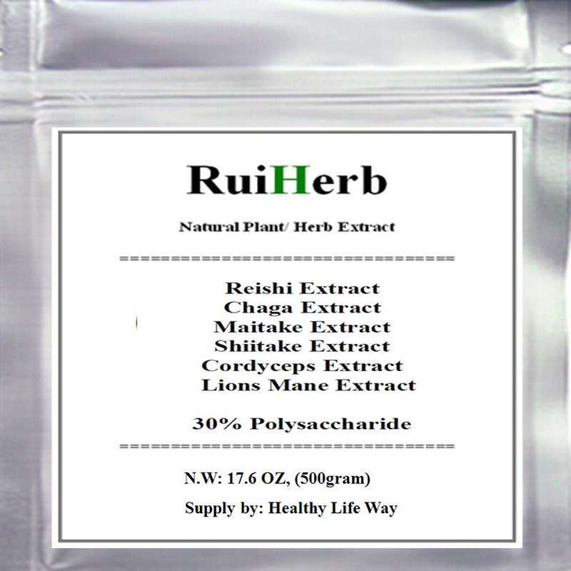 17.6oz, 500gram Top6 Mixed Mushroom Extract 30% Polysaccharide Chaga Reishi Cordyceps Maitake Shiitake Lions Mane Powder стоимость