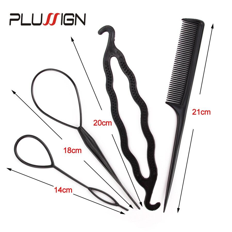 4Pcs Plastic Hair Loop Styling Hair Braiding Tools New Magic Topsy Tail Ponytail Hair Bun Maker Clip For Women Girls Hairstyles 1