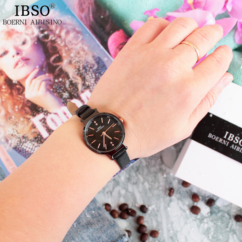 IBSO Women Leather Watches Ladies Fashion Wrist Watch Reloj Mujer 2019 Top Brand Luxury Crystal Watches Gifts For Women #8688
