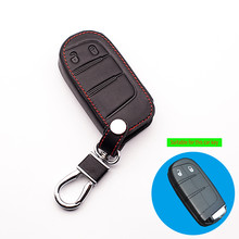 Leather Car Key Cover Case for Fiat Dodge Journey JCUV for JEEP Grand Cherokee Wrangler Commander Compass Car Key starline a93(China)