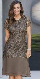 Image 2 - BacklakeGirsl 2020 شيفون موضة جديدة رقبة مستديرة فستان عروس أكمام قصيرة طول الركبة لحفلات الزفاف
