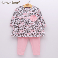 Humor Bear Baby Girl Floral Clothes Set Newborn Toddler Cotton Suit Kids Girl Outfits Spring Tracksuit