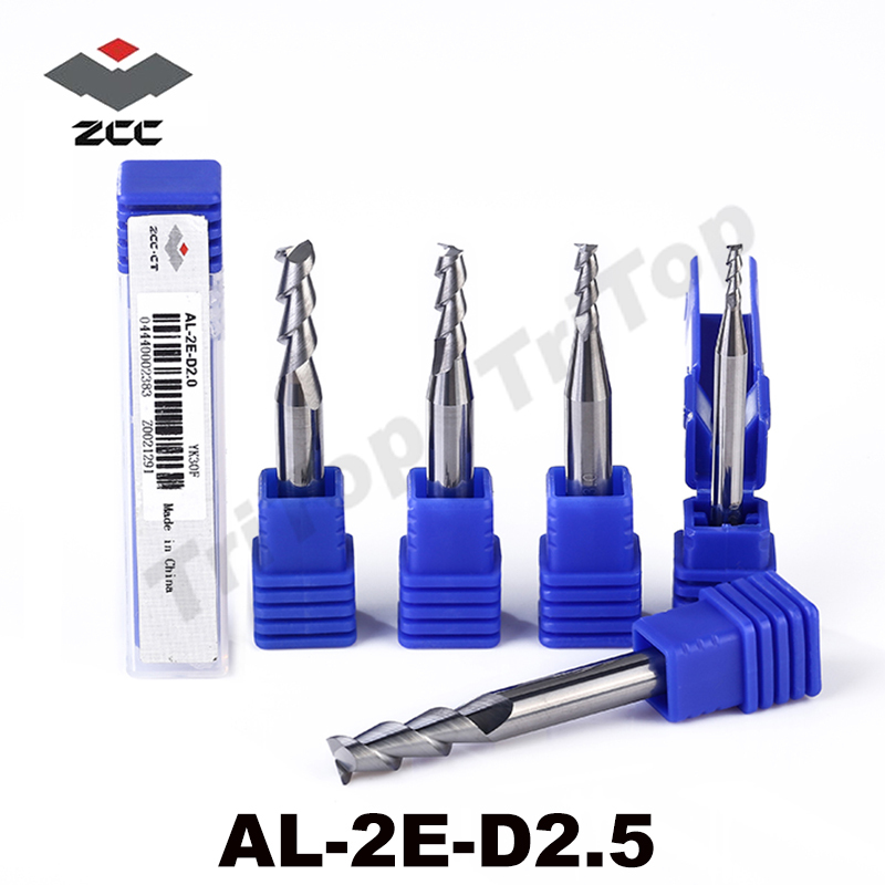 5pcs/pack AL-2E-D2.5 ZCC.CT tungsten alloy solid Carbide End mills 2.5mm D4 shank cnc milling cutters for aluminum machining e cap aluminum 16v 22 2200uf electrolytic capacitors pack for diy project white 9 x 10 pcs