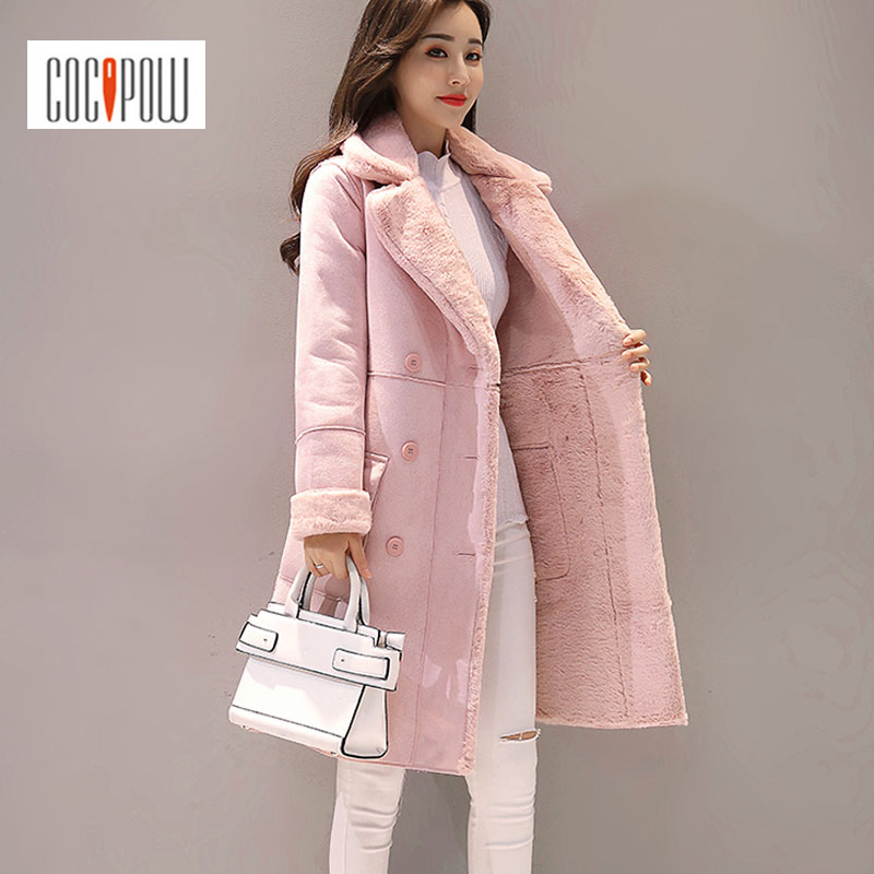Suede Vestes Breasted Double Pink Hiver Long Turn Casual Manteaux En gPqS6wBxF