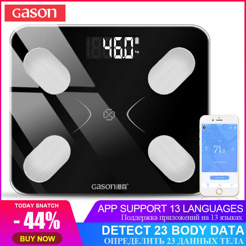 GASON S3 Graisse Du Corps De la Balance Au Sol Scientifique Intelligent Électronique LCD Numérique Poids Salle De Bains Équilibre Bluetooth APP Android ou IOS