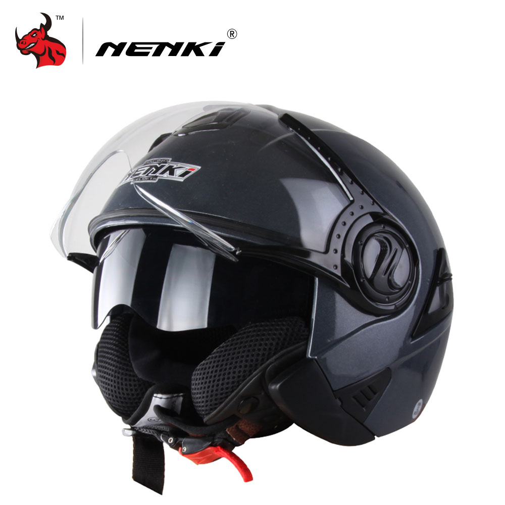 nenki open face motorcycle helmet capacete de moto vintage capacete de motocross black casque. Black Bedroom Furniture Sets. Home Design Ideas