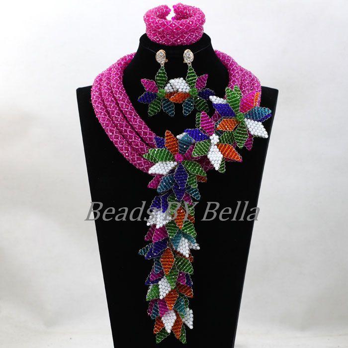 Роскошные невесты Свадебные аксессуары цветы Африканский Бусины Кружево Ювелирные наборы заявление кулон Цепочки и ожерелья комплект бес