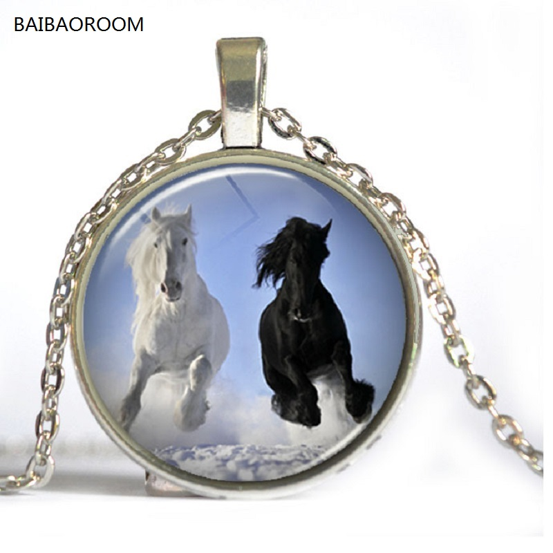 Time gem necklace series fashion black and white horse retro necklace