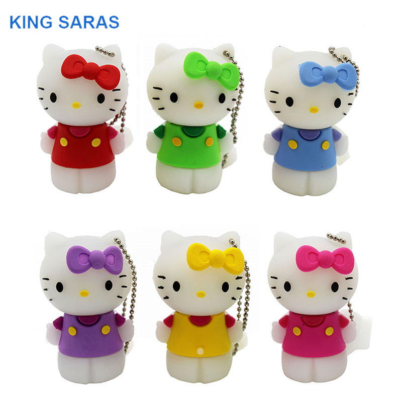 KING SARAS Red Pinl Bule Gree Yellow Colour Cute Hello Kitty Shoe Usb Flash Drive Usb 2.0 4GB 8GB 16GB 32GB 64GB Pendrive Gift