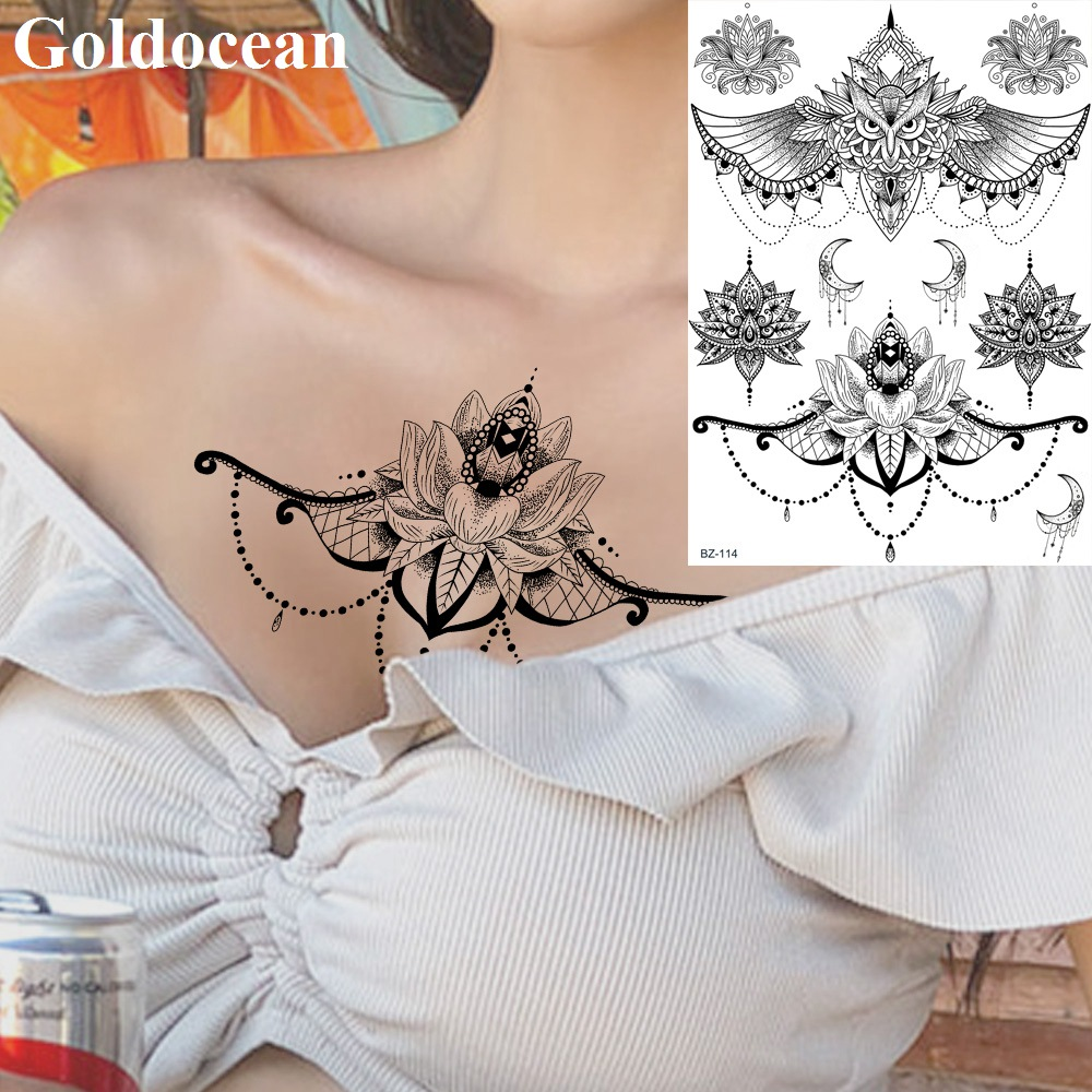 Water Transfer Lace India Pendant Owl Fake Tattoos Stickers Women Black Custom Body Art Painting Tattoo Temporary Chest Arm Tato