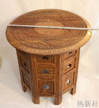 Pakistan imported wood carving table antique wood pure handmade coffee table coffee table table end table