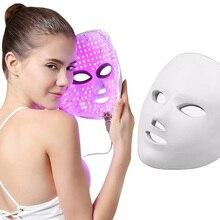 Светодиодный маска для лица, 7 цветов, светодиодный фотонотерапия, маска для омоложения, удаления морщин и акне, для лица, красота, спа, уход за кожей