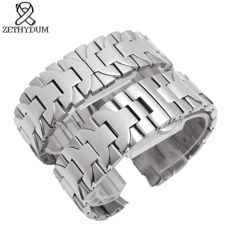 Браслет мм из нержавеющей стали 22 мм 24 мм металлический ремешок для мужских часов лучший бренд роскошные часы ремень Серебряный дуга рот ча...