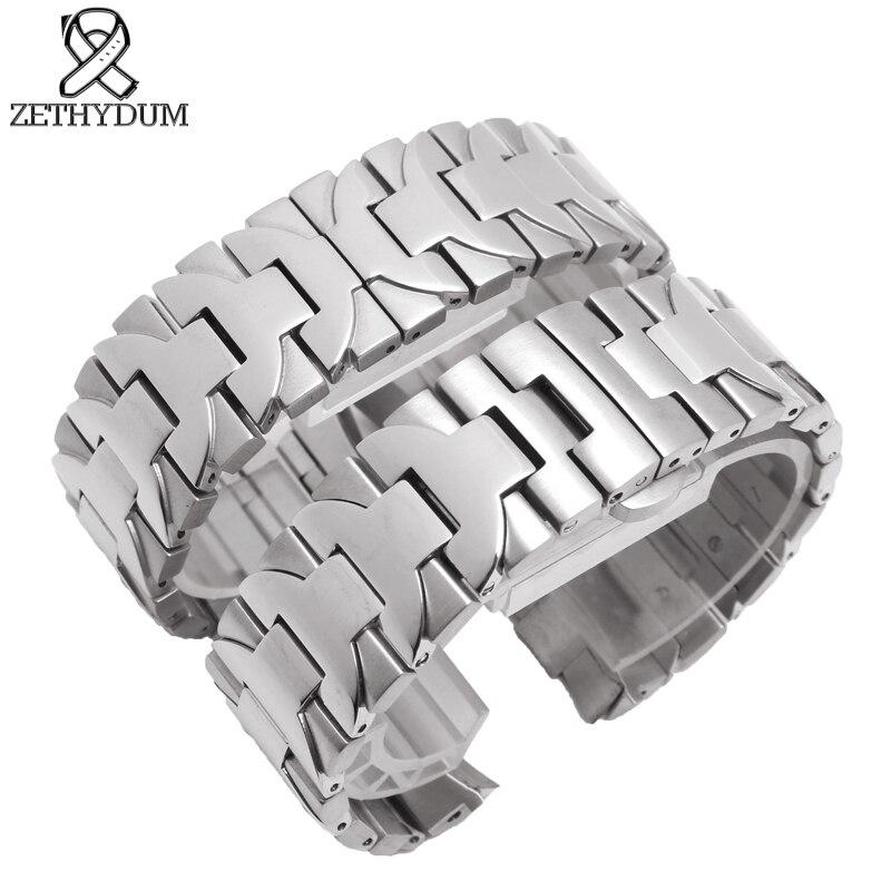 En Acier inoxydable bracelet 22mm 24mm en métal bracelet pour hommes montres top marque de luxe montre ceinture argent Arc bouche montre ceinture