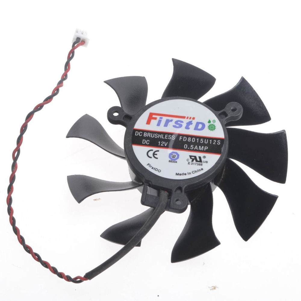 PC Computer VGA Graphics XFX HD6870 Video Card Cooling Cooler Fan (FD8015U12S 2wire 2Pin DC 12V) gdstime 10 pcs dc 12v 14025 pc case cooling fan 140mm x 25mm 14cm 2 wire 2pin connector computer 140x140x25mm