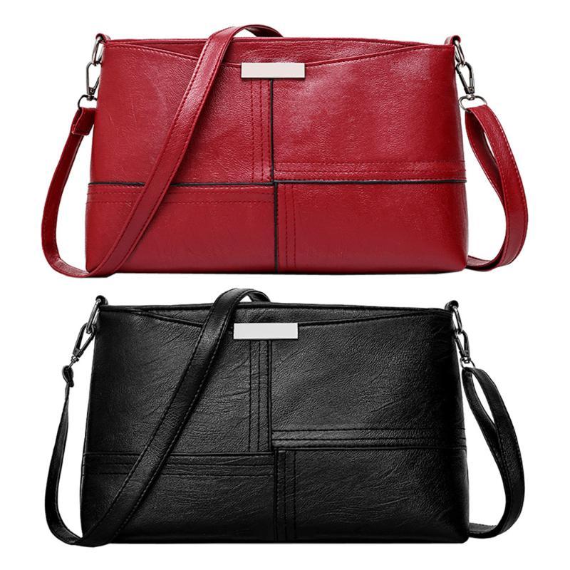 Small Women Crossbody Bag Vintage Messenger Bag Solid PU Leather Shoulder Clutch Bag Casual Envelope Patchwork Fashion Handbag
