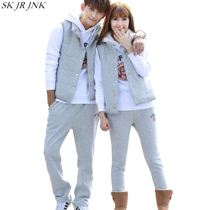 winter Lovers 3 Piece Sets (Hoodie+Vest+pant)Letter print Warm Lambswool Hoodie Padded Parka Casual Wadded Jacket Suits GJL36
