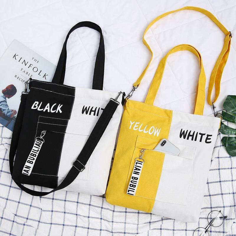 2019 New Brand Shopping Bag Casual Shoulder Bag Woman Vintage Cotton Canvas Bag Simple Large Cloth Shopper Bags Beach Totes
