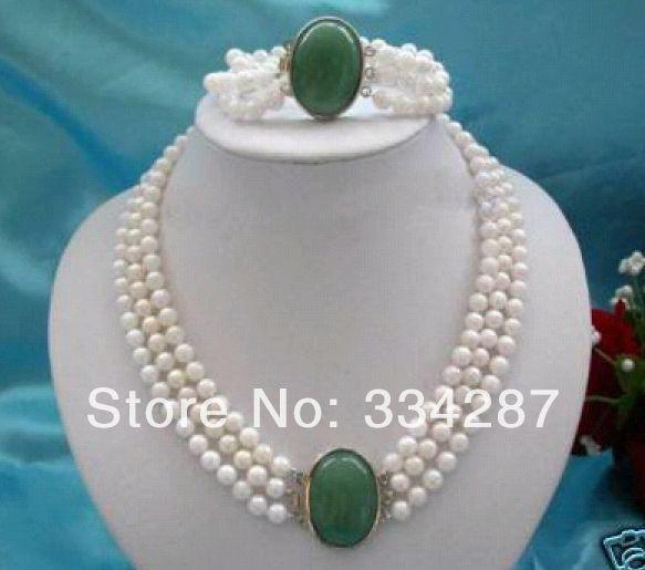 Gros bon 3 rangées 7-8mm blanc perle + pierre gemme fermoir collier bracelet