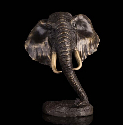 Copper Brass crafts ation Asian Modern Decoration Statue Elephant Head Bust Sculpture Bronze