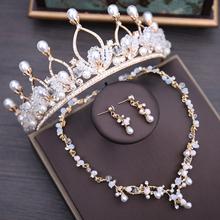 Barokowy Vintage złoty kryształ perły zestaw biżuterii ślubnej szlachetny Rhinestone naszyjnik kolczyki tiara korona zestaw biżuterii ślubnej tanie tanio George Black Ze stopu cynku Kobiety Zestawy biżuterii dla nowożeńców Moda TRENDY Ślub TL201 Kropla wody Necklace Earrings Crown
