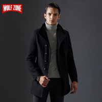 New Winter Business Casual Fashion Coat Men Keep Warm Mens Pure Color Windbreak Overcoat Jacket Long Sections Wool Trench Coats