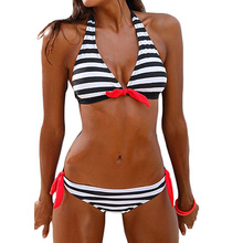 Newest Sexy Push Up Swimwear Women Swimsuit Striped Bikini Set Beach Wear For Girls S To 2XL 2017 brandman new black temptation sexy swimsuit hollow no back beach pool swimsuits size s to 2xl 66083