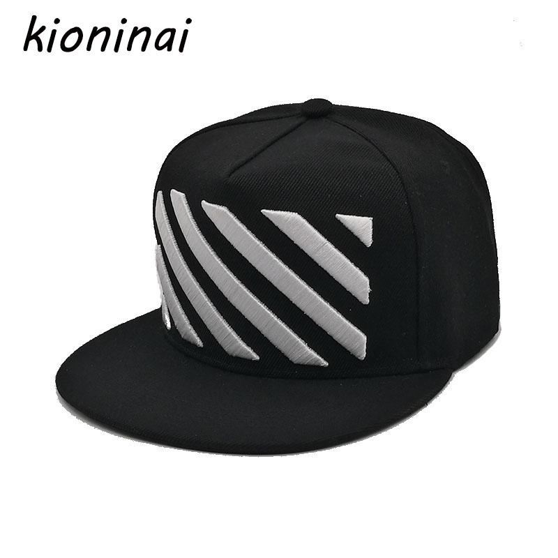 Kioninai Fashion   Baseball     Cap   Hip Hop Hat Unisex Design Black&White Stripes Non-mainstream Snapback Gorras Planas Casquette Bone