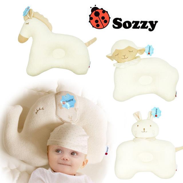 2015 Hot Marca Sozzy Bonito Algodão Bebê Dos Desenhos Animados Travesseiro de Pescoço de Cama Recém-nascidos Crianças Travesseiro De Enfermagem Travesseiro de Espuma de Memória Para Crianças