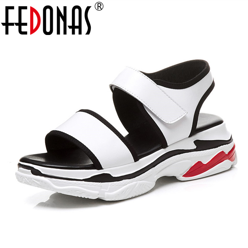 FEDONAS 2018 Brand Summer Women Platform Sandals Genuine leather Women Wedges Heels Sandals Fashion Comfort Casual Shoes Woman fedonas brand women summer gladiator low heeled sandals fashion comfort slippers genuine leather elegant shoes woman sandals