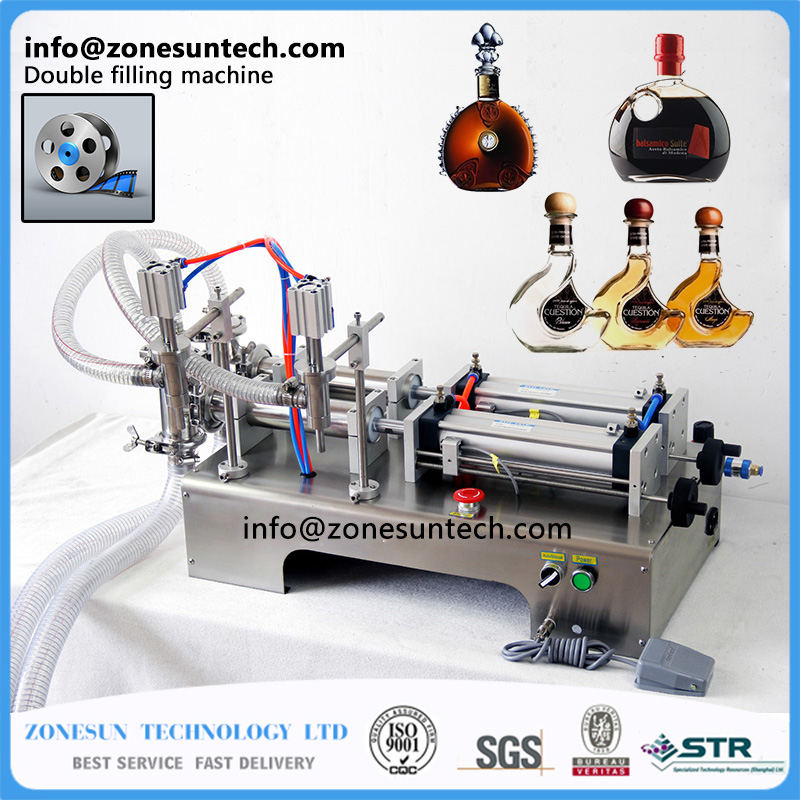 5-100ml Horizontal Pneumatic double head PERFUME Filling Machine, WlNE filling machine, Water filling machine 50 500ml horizontal pneumatic double head shampoo filling machine essential oil continuous liquid filling machine