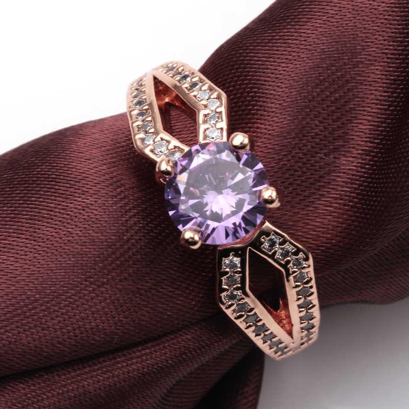 หญิงลึกลับสีม่วง/แชมเปญแหวนแฟชั่นสไตล์ Rose Gold Filled เครื่องประดับแหวนแต่งงาน Vintage 2017 ใหม่ปีของขวัญ