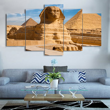 Canvas Painting Living Room Wall Art 5 Pieces Egyptian Pyramids Sphinx Pictures Modular HD Print Scenery Poster Unframed