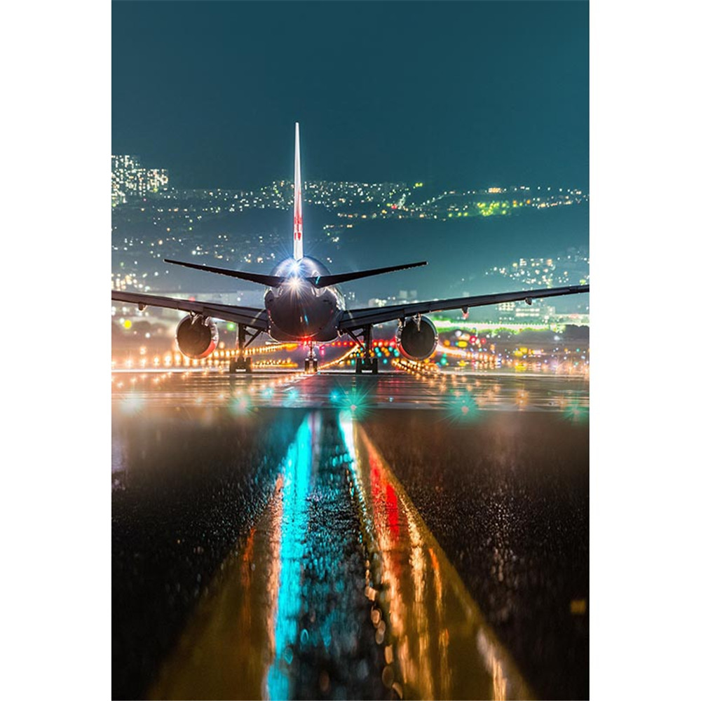 Airport Night Scene Big Airplane Photography Backdrops Sparkling Pilot Light Bokeh Kids Children Wedding Photo Shoot Backgrounds