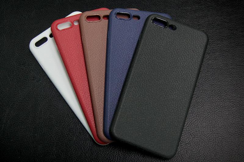 Dla iphone 7 plus iphone 7 case silicon ultracienkich tpu miękka skóra wzór case dla iphone 6 6s plus logo hole back cover czarny 24