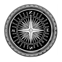 Multi Size Black and White Compass Round Rug and Carpets Washable Non-slip Foot Mat Living Room Bedroom Coffee Table Rug
