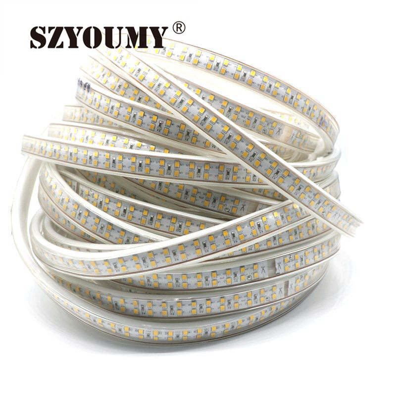SZYOUMY 10M 208Leds/m SMD 2835 LED Strip 220V Waterproof Double Row LED Tape Rope Light Warm White Home Decoration Lights