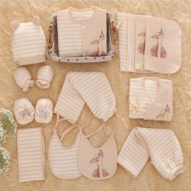 16-18 pçs/set Bebê Recém-nascido Roupas 100% de Algodão Conjunto de roupas Grossas de Inverno Do Bebê Da Menina Undwear linfant 0-12Month