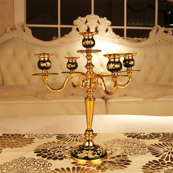 Household Decor Zinc alloy 5 Lights Candle holders European style Romantic Candlelight Dinner Decor Candlestick Candelabra