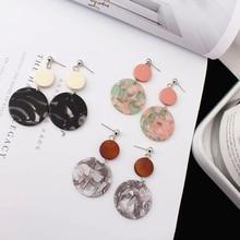 Корейские массивные деревянные серьги уксусная кислота геометрические круглые акриловые Висячие серьги для женщин серьги Модные ювелирные изделия
