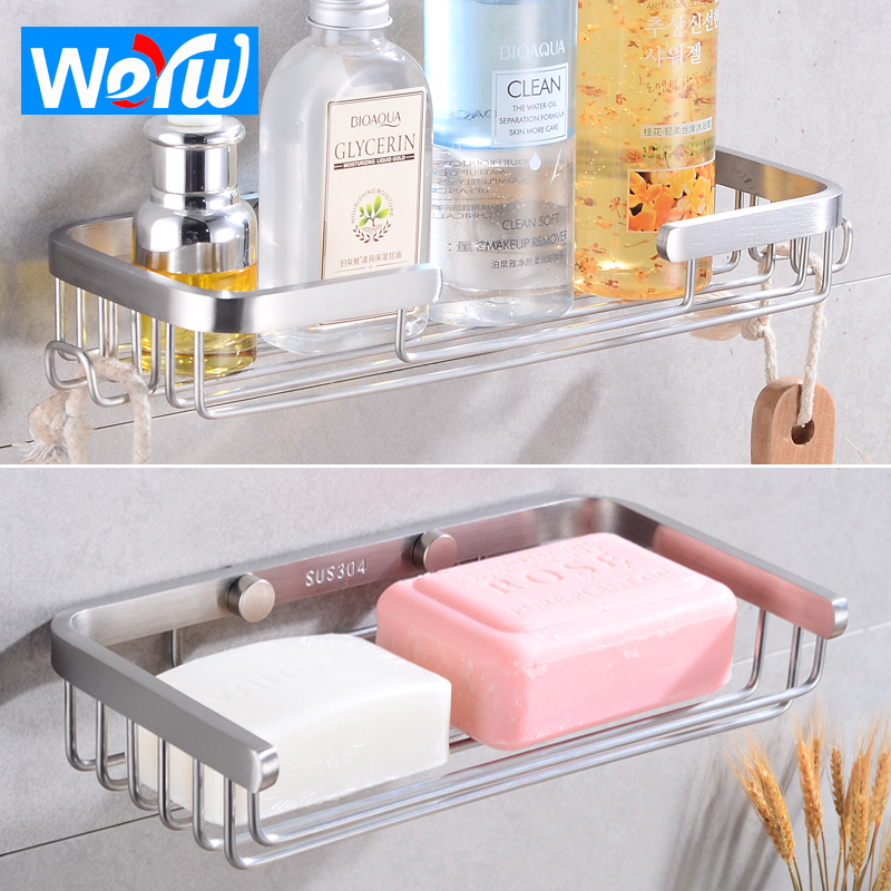 Soap Holder Stainless Steel Bathroom Soap Dish Storage Holder Hook Wall Mounted Lengthen Cosmetic Shampoo Shelf Soap Rack Basket