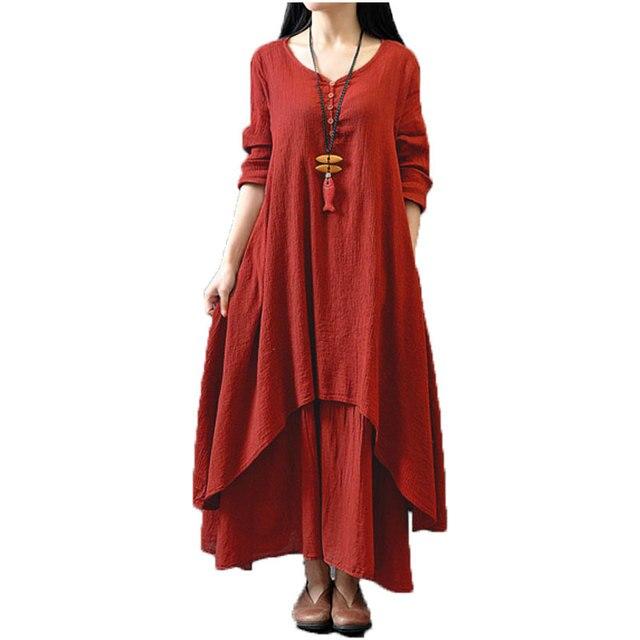 Hot 2017 de las mujeres ocasionales flojas de manga larga con cuello en v dress fashion otoño ropa de algodón solid maxi largo de boho dress vestidos plus tamaño