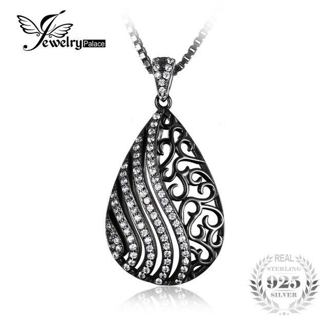 Jewelrypalace moda water drop cubic zirconia colgante de plata de ley 925 negro no incluye una cadena de oro plateado para las mujeres